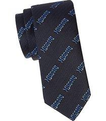 logo print silk tie