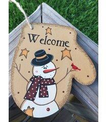 primitive wood wl020 welcome snowman mitten christmas ornament