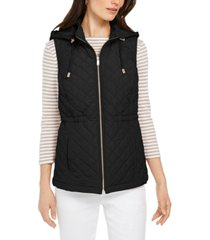 charter club woven hooded quilted vest, created for macy's