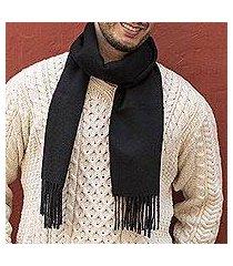 men's 100% alpaca scarf, 'evening black' (peru)