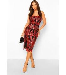 strapless damast midi jurk met pailletten, red