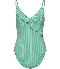striba frill swimsuit baddräkt badkläder grön becksöndergaard