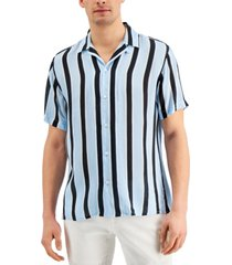 inc international concepts men's camp collar striped shirt, created for macy's