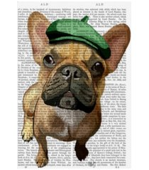 """fab funky brown french bulldog with green hat canvas art - 36.5"""" x 48"""""""