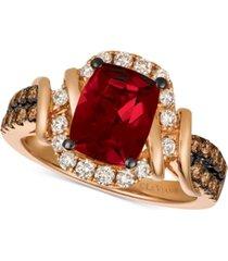 le vian chocolate & nude raspberry rhodolite (1-9/10 ct. t.w.) & diamond (5/8 ct. t.w.) ring in 14k rose gold