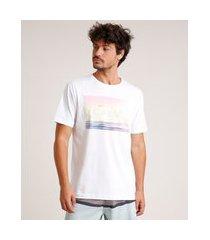 """camiseta masculina calm"""" manga curta gola careca off white"""""""
