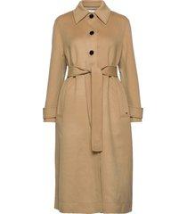double face belted trench coat wollen jas lange jas beige calvin klein