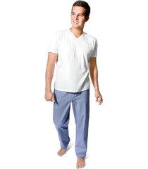 pantalón pijama tela popelina para hombre color siete - azul navy