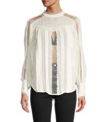 iro women's ease lace-trim blouse - ecru - size 40 (8)