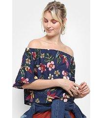 blusa top modas ombro a ombro floral feminina