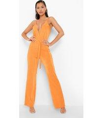 strakke wikkel jumpsuit met wijde pijpen en textuur, orange