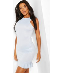 ruffle hem bodycon mini dress, light blue