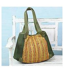 cotton tote handbag, 'sunset cruise ii' (india)