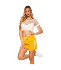 trendy shorts met strepen jaren 90 retro look geel