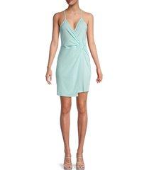 bcbgeneration women's v-neck faux wrap dress - aqua - size s