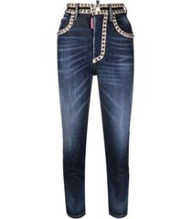 dsquared2 crystal hi twiggy high waisted jeans w/studs