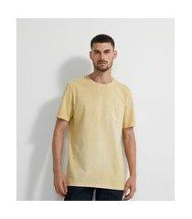 camiseta manga curta em algodão lavada com bolso | marfinno | amarelo | p