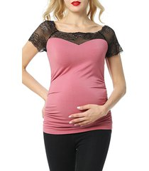 women's kimi and kai valerie lace maternity top, size x-large - pink