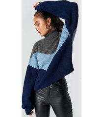 na-kd trend color blocked turtleneck knitted sweater - blue