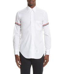 men's thom browne woven shirt, size 3 - white