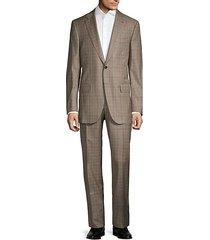standard-fit plaid wool suit