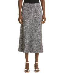 st. john collection rib tweed midi skirt, size medium in black at nordstrom