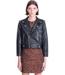 ganni leather jacket in black leather