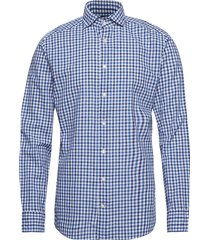 soft cotton & linen gingham check shirt overhemd business blauw eton