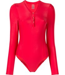 duskii long-sleeved buttoned swimsuit - red