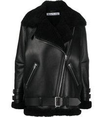 acne studios oversized aviator coat - black