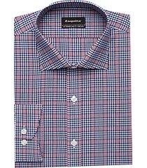 esquire non-iron burgundy & navy slim fit dress shirt