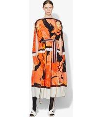 proenza schouler marocaine cape dress coral/tobacco abstract/orange 0