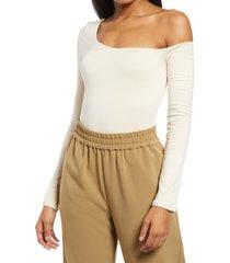 women's re ona one-shoulder thong bodysuit, size x-large - ivory