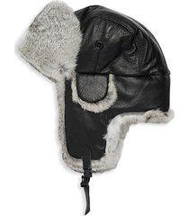 trooper rabbit fur leather earflap hat