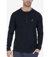 nautica men's soft, breathable long sleeve henley pajama shirt