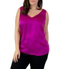 plus size women's maree pour toi silk tank top, size 14w - purple