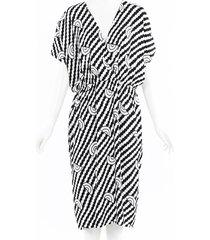 celine geometric midi dress black/white/geometric sz: l