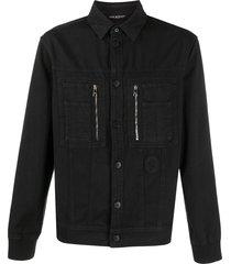 neil barrett stitched denim shirt - black
