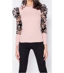 blouse paris sheer flock print organza sleeve high neck top -