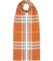 burberry lightweight check scarf - orange