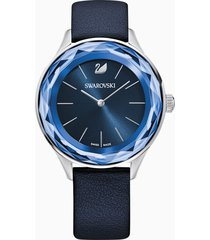orologio octea nova, cinturino in pelle, azzurro, acciaio inossidabile