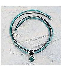 onyx and chrysocolla pendant necklace, 'beautiful capricorn' (peru)