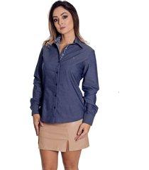camisa pimenta rosada madeleine azul jeans