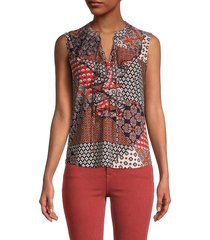 tommy hilfiger women's mixed-print ruffle sleeveless top - midnight flame - size s