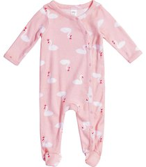 infant girl's nordstrom baby print footie, size 3m - pink