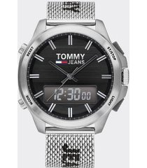 tommy hilfiger men's tommy jeans analog + digital watch silver/black -