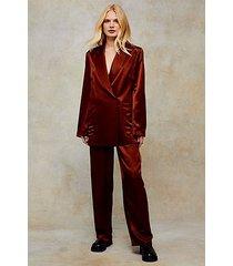 bronze satin elasticated suit pants - bronze