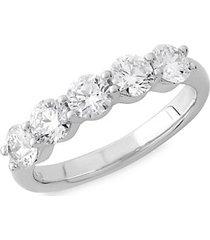 14k white gold & 2 tcw lab-grown diamond 5-stone anniversary ring band