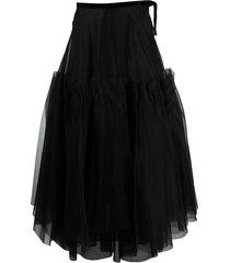 brock collection ruffled silk maxi skirt - black