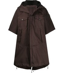 stone island ghost hooded cape - brown